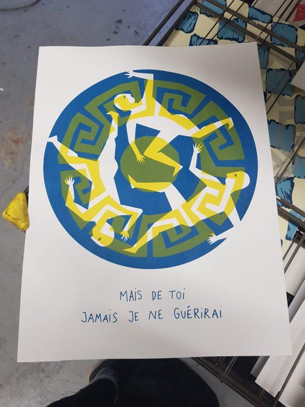 impression jaune sur bleu